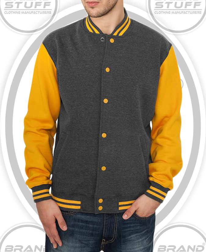 CONTRAST SLEEVES BRAND NEW UNISEX COTTON BASE BALL JACKET