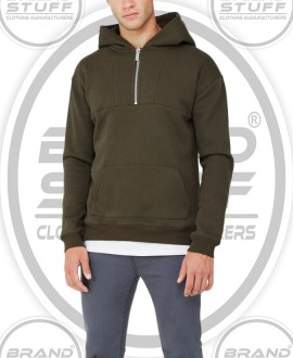 ARMY GREEN MEN'S HALF QUARTER ZIPPER PANELED JUMPER