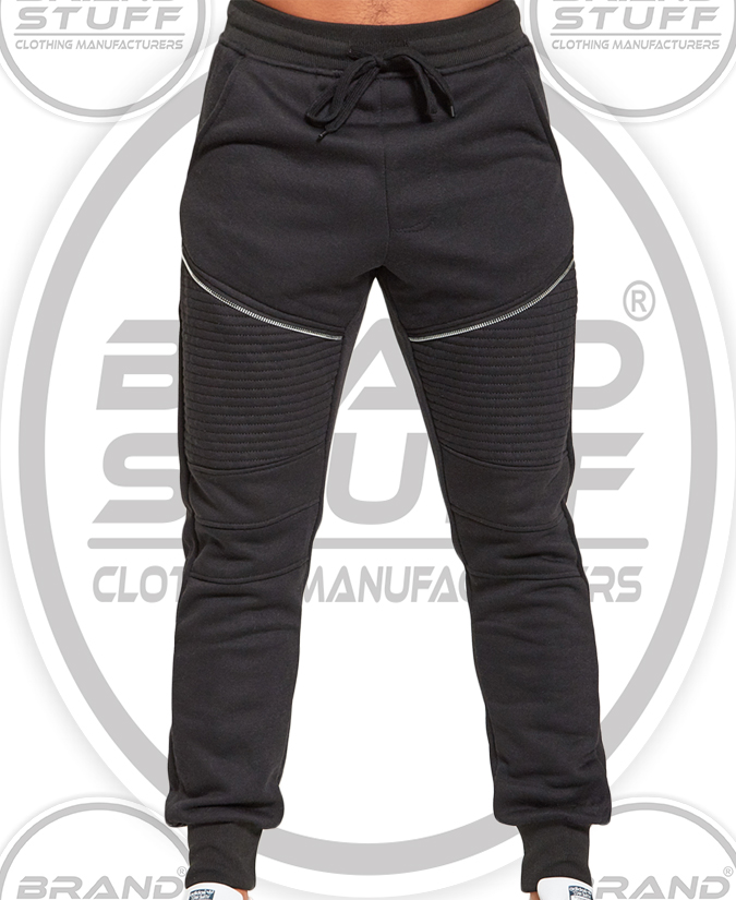 MEN'S ZIP DETAIL BLACK JOGGING BOTTOMS