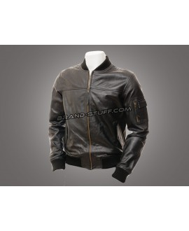 Varsity Style Leather Fashion Jacket,American Military Leather Jacket