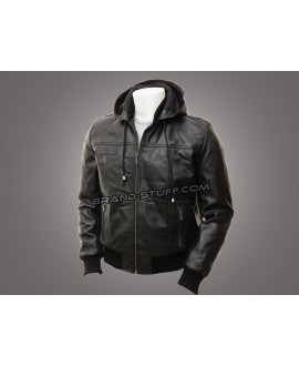 Luxury Hooded Leather Jacket/Luxurious Hooded Vintage Sheepskin Leather Jacket Black/Balck