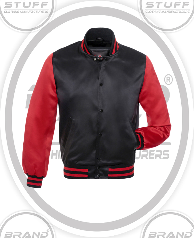 BLACK SATIN BODY RED SATIN SLEEVES VARSITY JACKET