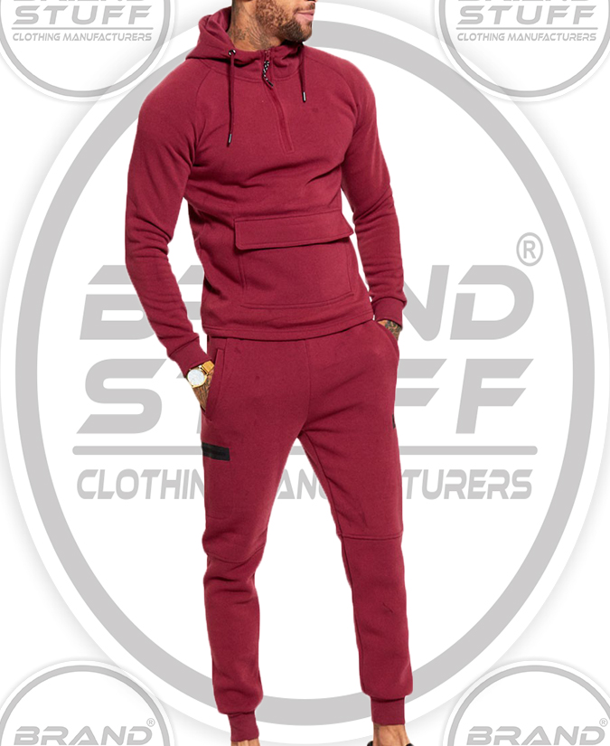 MEN'S WINE SLIM FIT POUCH POCKET TRACKSUIT