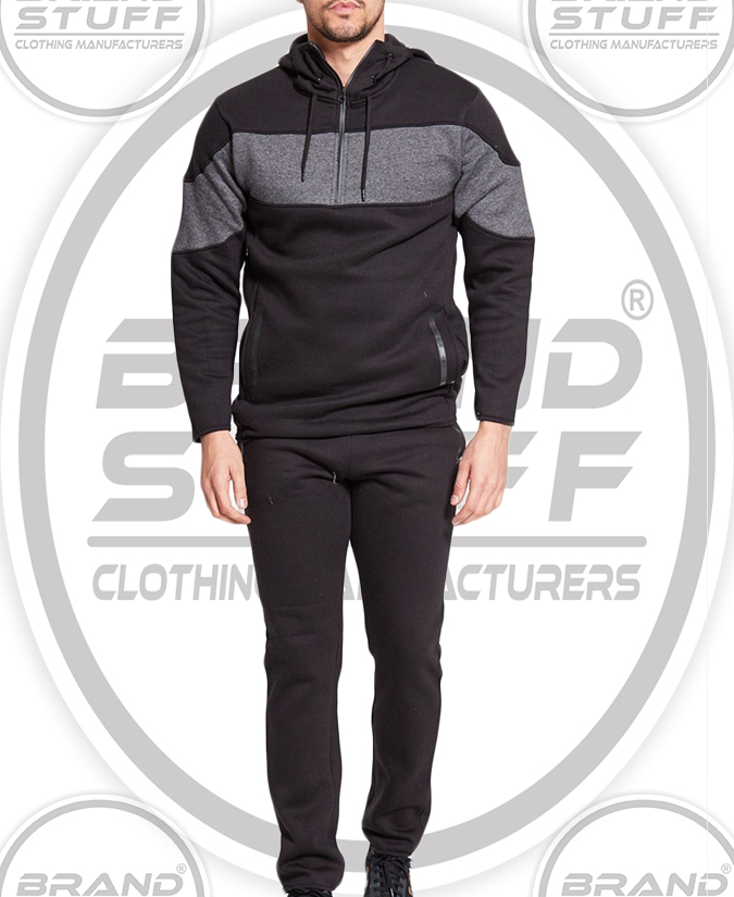 ICONIC  BLACK CHARCOAL PANEL SLIM FIT TRACKSUIT
