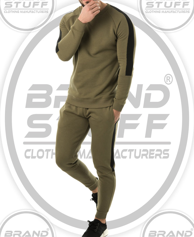 ARMY GREEN STRIPPED PANEL CREW SWEATSUIT