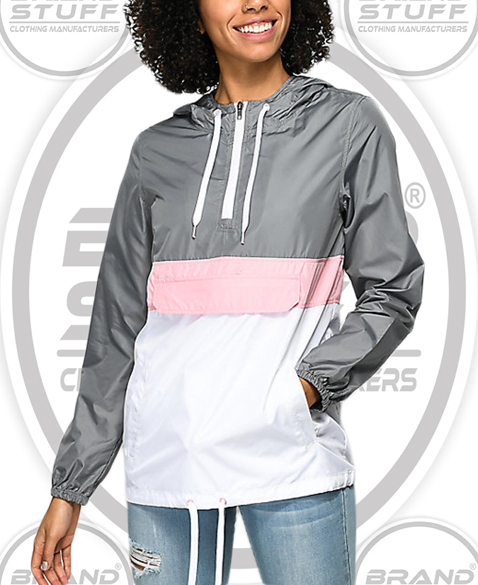 ODD FUTURE OF GREY & PINK PULL OVER WATER WATER PROOF JACKET
