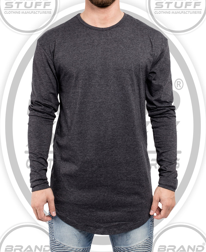 FULL SLEEVE LONG LINE CURVED CREW NECK SHIRT