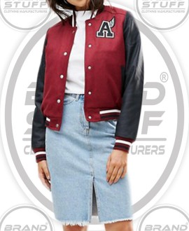 LADIES SHORT BODY LETTERMAN VARSITY JACKET