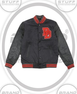 GREY MELTON WOOL BODY BLACK LEATHER SLEEVES LETTERMAN VARSITY JACKET